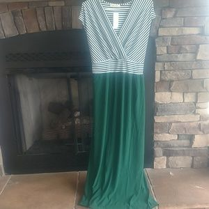 2x green and white maxi dress